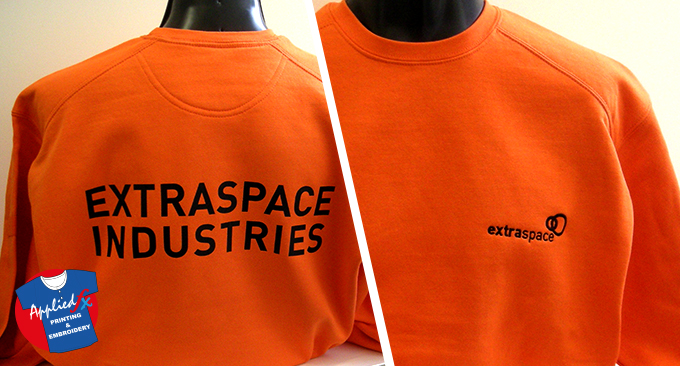 Extraspace sweatshirts with embroidered logo