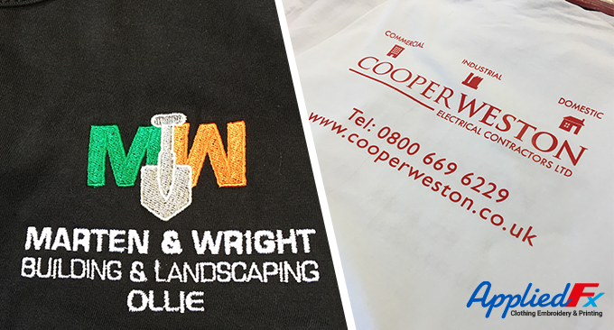 Embroidered log onto sweatshirts and heat applied text for Cooper Weston